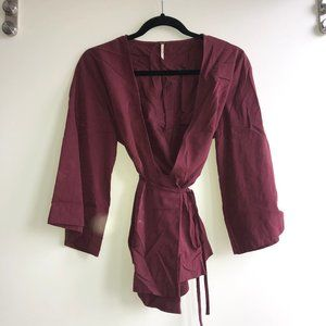 Free People Burgundy Wrap Top